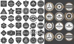 多样式的黑白标签创意设计矢量素材