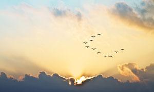 天空乌云后的耀眼阳光摄影高清图片