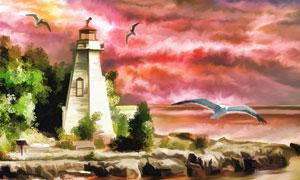 灯塔与瑰丽的云彩绘画创意高清图片