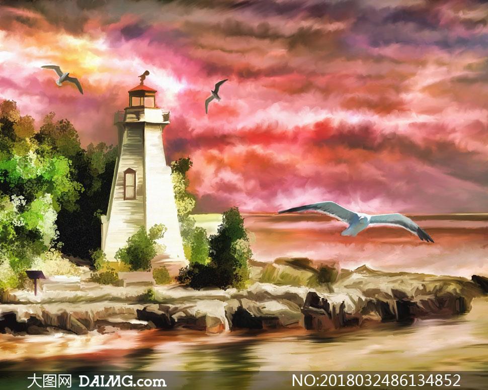 cc0; 关 键 词: 高清图片大图素材绘画美术水彩画风景画自然风光灯塔