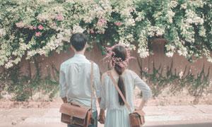 手牵手看着鲜花盛开的情侣高清图片