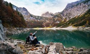 多云天空湖光山色风景摄影高清图片