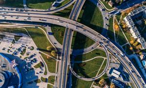 通达四方的城市立交桥摄影高清图片