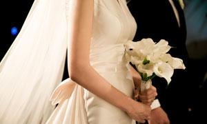 新娘手里的马蹄莲花束摄影高清图片