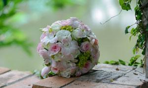 包裹成球形的婚庆捧花摄影高清图片