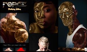 人像转金属质感和雕塑效果PS动作