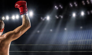 比赛场上的拳击手人物摄影高清图片