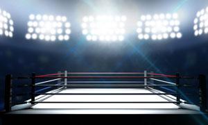 还无人登场的拳击赛场摄影高清图片