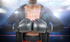 准备开打的拳击手人物摄影高清图片