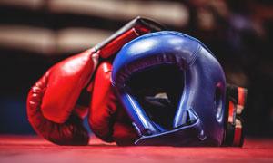 红蓝色的拳击护具特写摄影高清图片