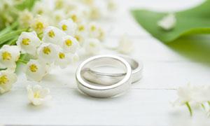 一对戒指与白色的小花摄影高清图片