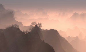 浓雾中隐隐约约的山峦风景高清图片