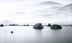 中国风山水和岛屿背景PSD源文件