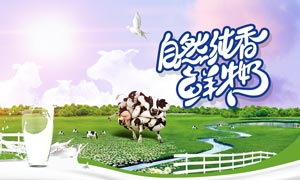 自然纯香鲜牛奶广告设计PSD素材