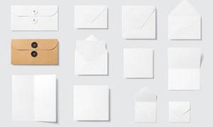 文件袋信封与折页贴图模板设计素材