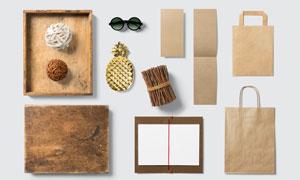 卡片与牛皮纸手提袋等贴图分层模板