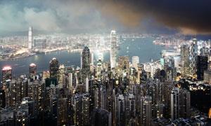 维港两岸林立的建筑群摄影高清图片