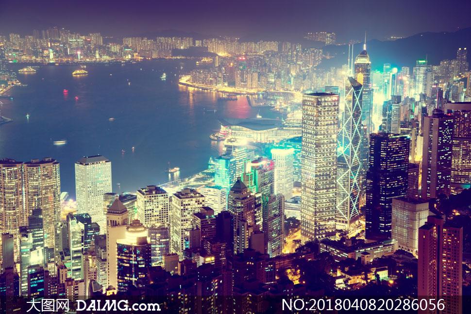 香港城市风光夜景鸟瞰摄影高清图片