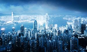 夜晚香港城市夜景鸟瞰视角摄影图片