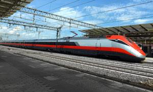 蓝天白云铁轨上的列车摄影高清图片
