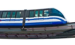 轨道上的蓝白地铁列车摄影高清图片