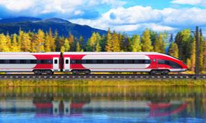 行驶在山下湖边的火车摄影高清图片