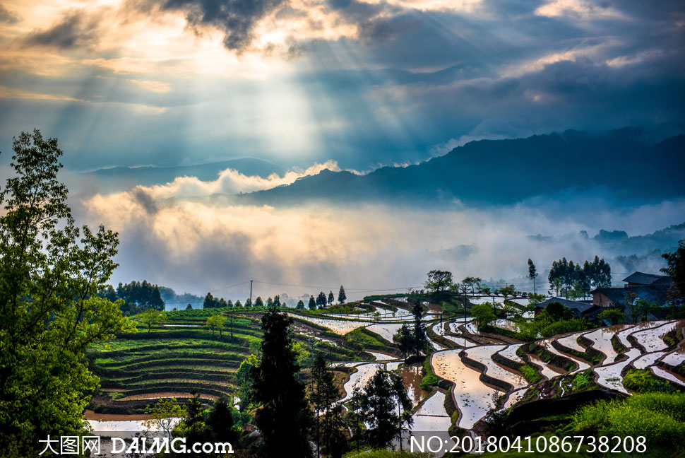 高清图片大图素材摄影自然风景风光农田田地农业庄稼地鸟瞰俯瞰远山