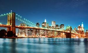 亮着灯的城市大桥夜景摄影高清图片
