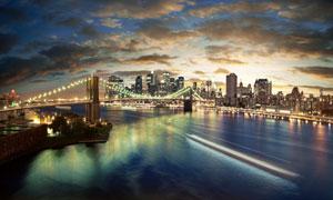 城市夜景与悬索式大桥摄影高清图片