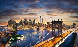 横跨水面上的城市桥梁摄影高清图片