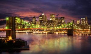 大桥与繁华的城市夜景摄影高清图片