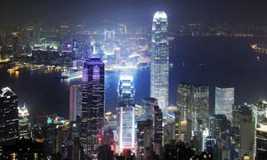 如白昼的香港繁华夜景摄影高清图片