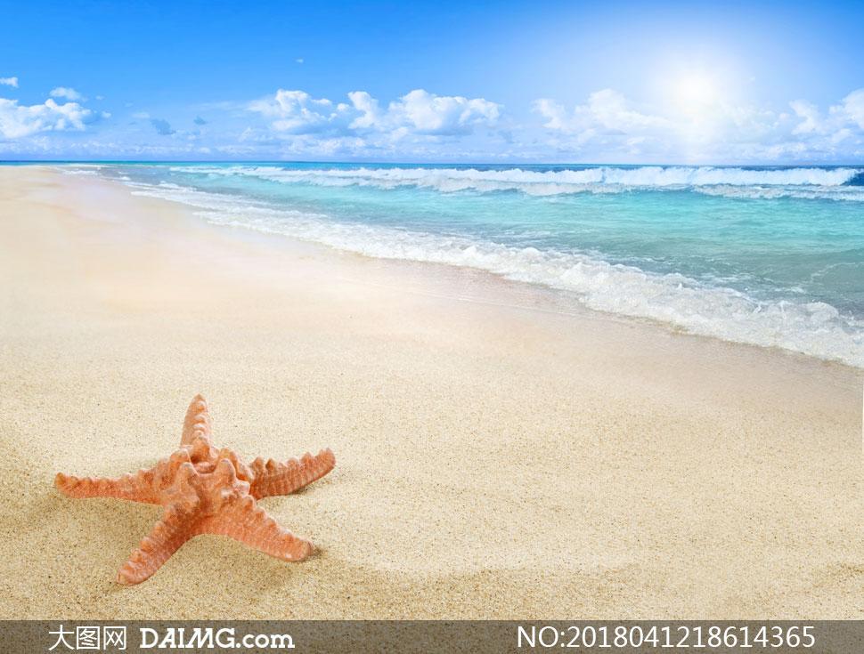 云层云彩多云白云沙滩海滩海水大海海景海面潮水浪花海浪阳光云朵海星