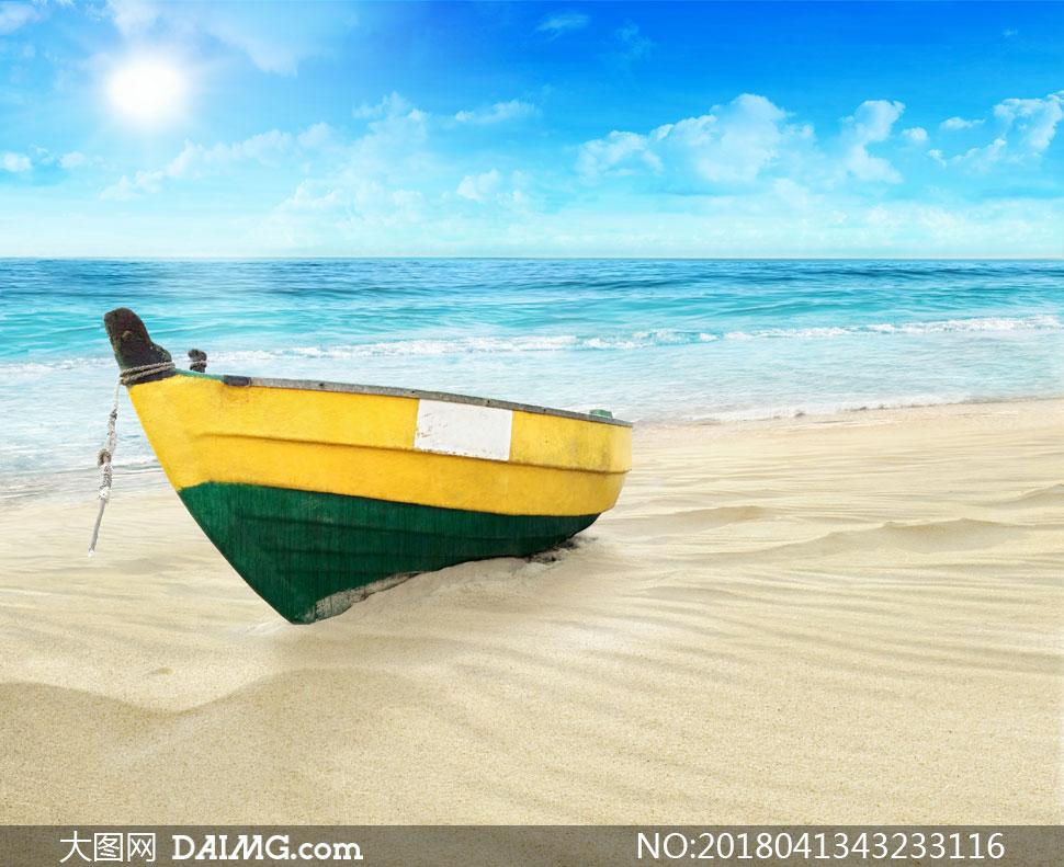 > 素材信息                          海星贝壳与在阳光下的大海高清