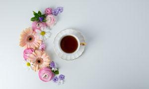花茶与雏菊等几朵鲜花摄影高清图片