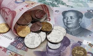 人民币纸钞与硬币特写摄影高清图片