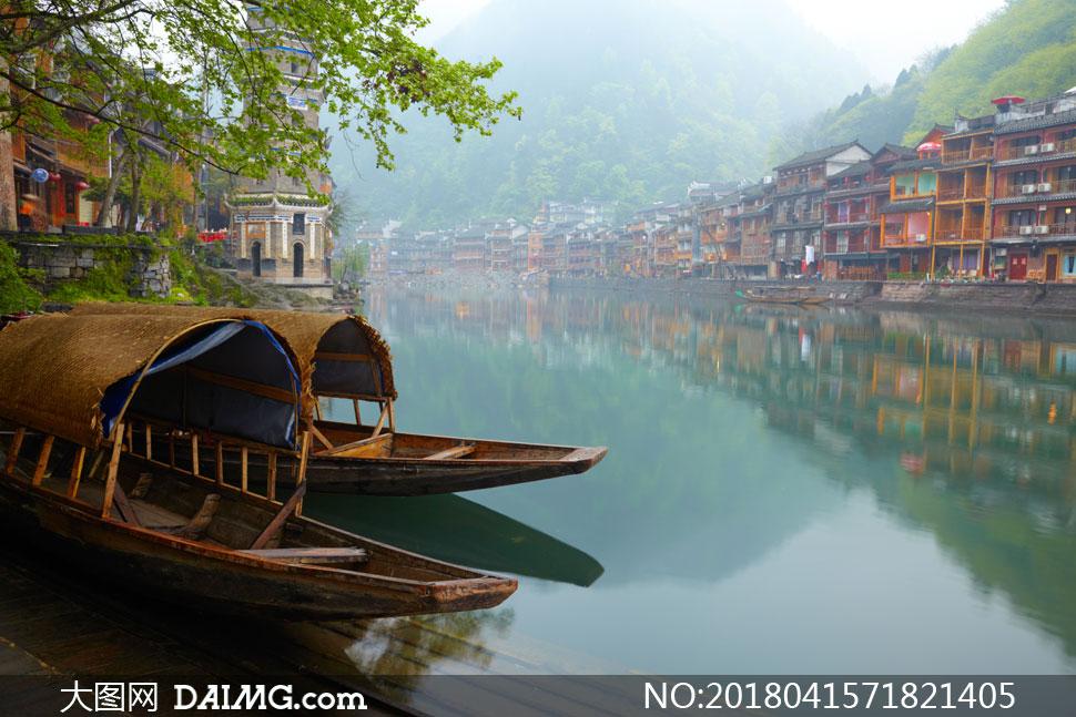 高清图片大图素材摄影自然风景风光景观景区景点古镇小镇树木树枝小船