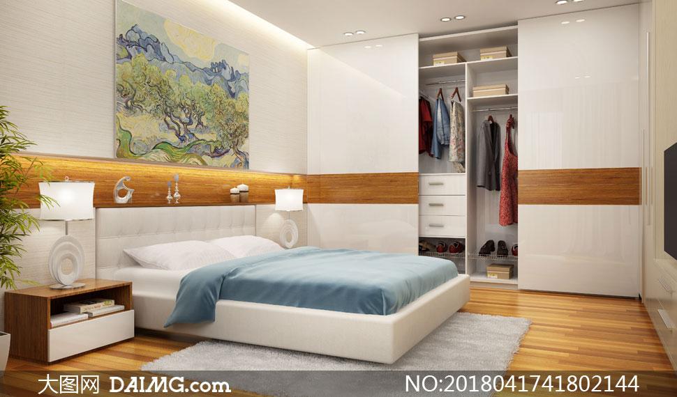 卧室双人床与衣柜效果摄影高清图片