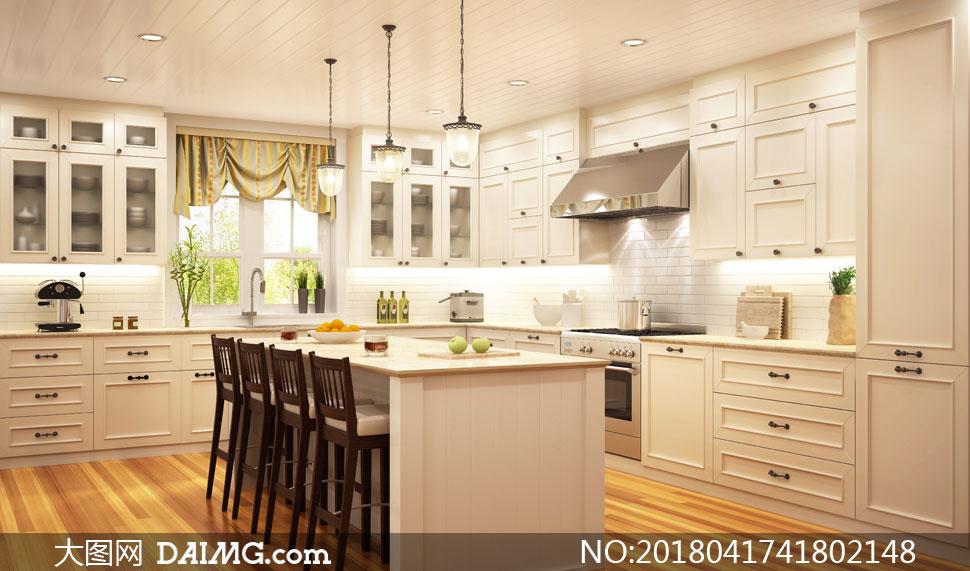 宽敞明亮的开放式厨房摄影高清图片