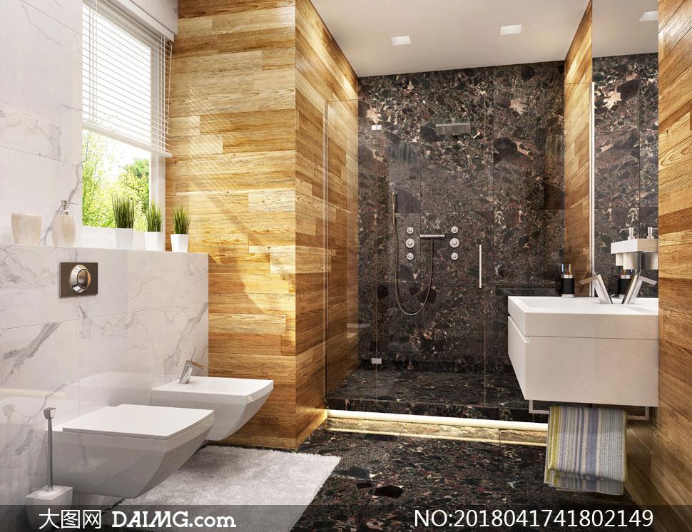 淋浴房与卫浴设施布置摄影高清图片