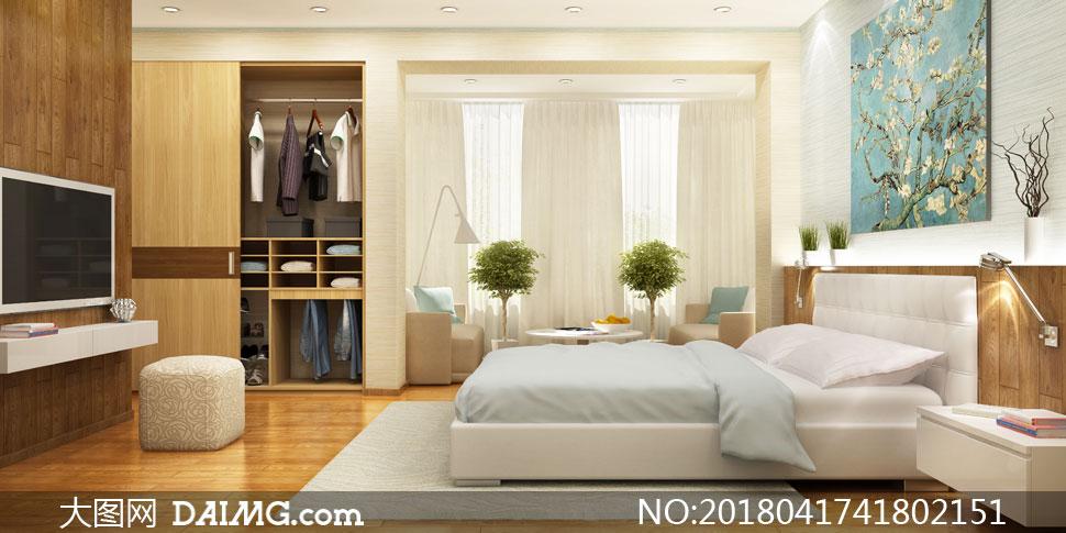 卧室里的衣帽间等布置摄影高清图片