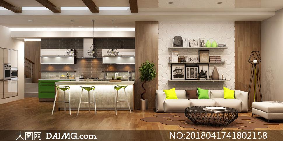 客厅沙发与厨房吊灯等摄影高清图片