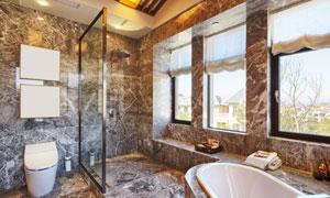 浴缸马桶与淋浴房装潢效果高清图片