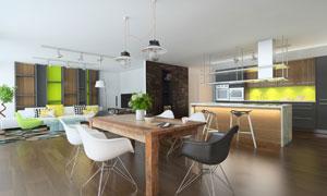 沙发桌椅与开放式厨房摄影高清图片