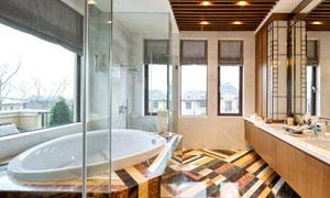 浴缸与梳妆洗手台布置摄影高清图片