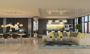 观景房内的客厅与厨房布置高清图片