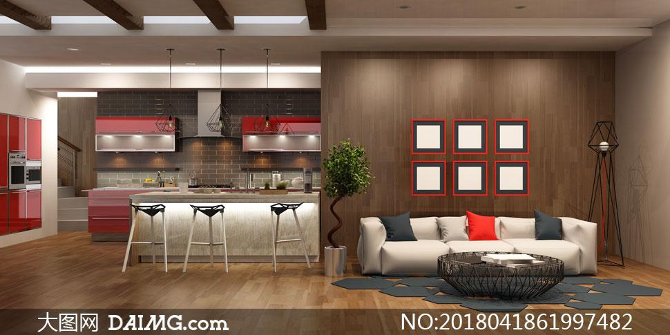 空白装饰画与开放式的厨房高清图片