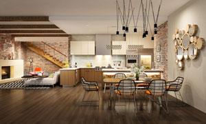 沙发餐桌椅与开放式的厨房高清图片