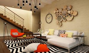 铺几何图案地毯的客厅摄影高清图片
