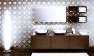 洗手间内明亮灯光照明效果高清图片